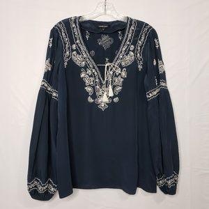 Nanette Leopore Dark Blue Embroidered Blouse